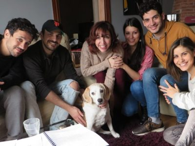 """h0us3 team with actor """"Orson"""" the dog inside"""